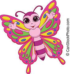 mariposa, lindo, caricatura