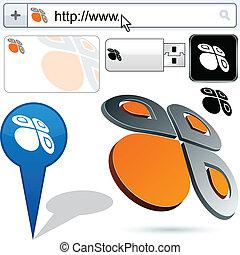 mariposa, logotipo, resumen, empresa / negocio, design.