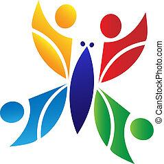 mariposa, logotipo, trabajo en equipo