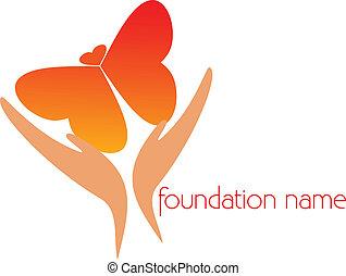 mariposa, marca, vuelo, manos