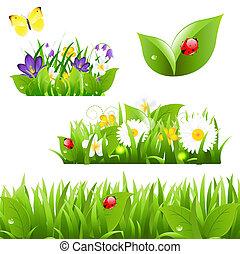 mariposa, mariquita, flores, pasto o césped