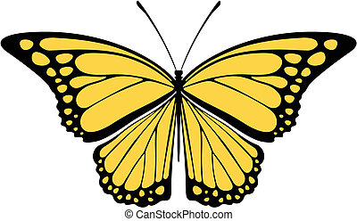 mariposa, monarca, vector