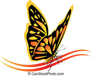 mariposa, monarca, vector, logotipo