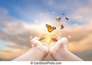 mariposa, niña, frees, libertad, dorado, tarro, momento, concepto, azul