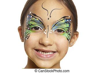 mariposa, niña, Pintura, joven, cara