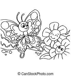 mariposa, páginas, colorido, vector