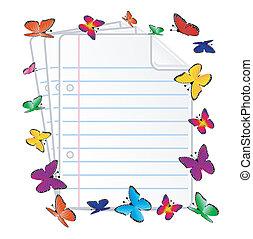 mariposa, papel, folias