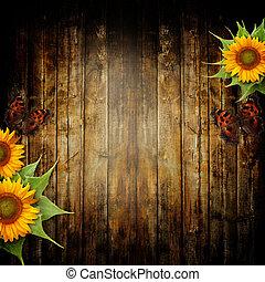 mariposa, plano de fondo, de madera