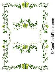 mariposa, planta, verde, marco, progresivo