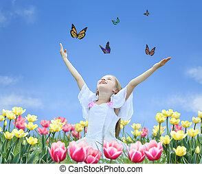 mariposa, poco, collage, tulipanes, arriba, manos, niña