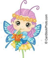 mariposa, polen, niña, bebida, niño