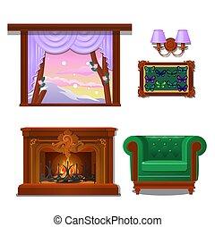 mariposa, primer plano, conjunto, illustration., de madera, collection., aislado, sconce, fondo., vector, ventana, interior, chimenea, blanco, artículos, caricatura, pared
