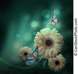 mariposa, rayos, gerbery, luz, plano de fondo, floral