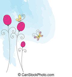 mariposa, rosa, resumen, saludo, tarjeta roja