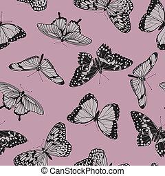mariposa, seamless, vendimia, patrón