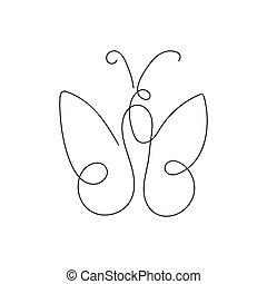 mariposa, sola línea, bosquejo