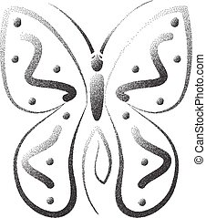 mariposa, stipple, efecto