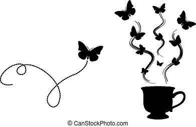 mariposa, té, (logo)