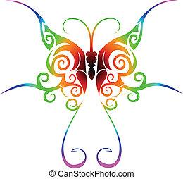 mariposa, tatuaje, tribal, colorido