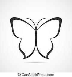 mariposa, vector, o, plano de fondo, icono