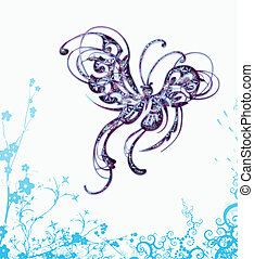 mariposa, velloso, vector