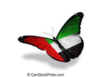mariposa, vuelo, aislado, bandera, plano de fondo, blanco,...