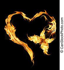 mariposa, vuelo, alas, ardiente
