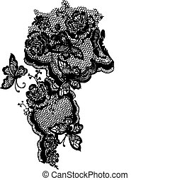 mariposa, y, encaje de rosa, patrón
