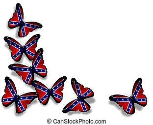 mariposas, aislado, bandera, rebelde, plano de fondo, confederado, blanco