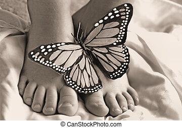 mariposas, dedos del pie