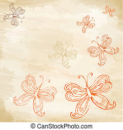 mariposas, en, viejo, papel