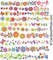 mariposas, flores, conjunto