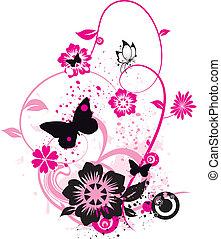 mariposas, flores