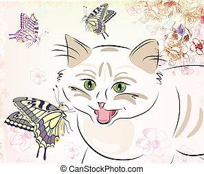 mariposas, gato
