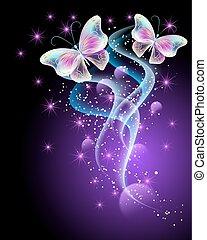 mariposas, mágico, estrellas, encendido