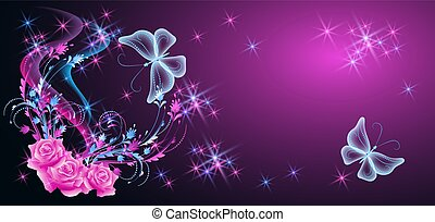 mariposas, rosas, estrellas, neón, brillante