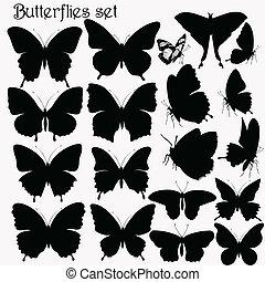 mariposas, vector, si, colección
