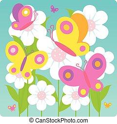mariposas, y, flores