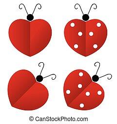 mariquita, corazón, ilustración