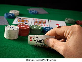 mariquita, póker, juego, durante, mano