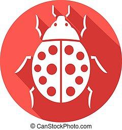 mariquita, plano, icono, (lady, bug)