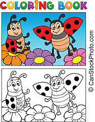 mariquita, tema, 2, libro colorear