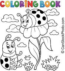 mariquita, tema, colorido, libro,  3