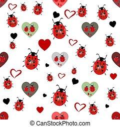 mariquita, y, corazón, seamless, patrón, vector, ilustración