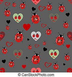 mariquita, y, corazón, seamless, pattern., vector, ilustración