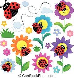 mariquitas, flores, Conjunto, temático