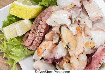 marisco, gostoso, salada