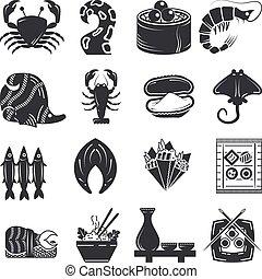 marisco, vetorial, pretas, cobrança, ícones