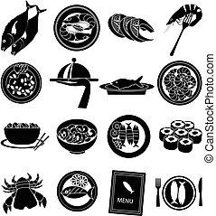 mariscos, conjunto, iconos