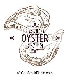 mariscos, emblema, ingredientes, orgánico, etiqueta, bosquejo, menú, ostra